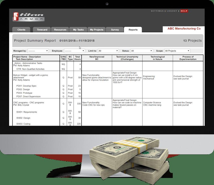 Maximum R&D Tax Credit, guaranteed. Titan Armor R&D Tax Software on iMac.